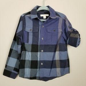 Burberry plaid button down shirt top boys blue